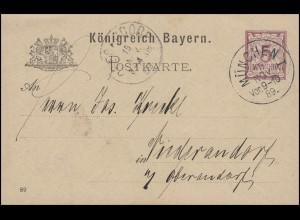 Bayern Postkarte Ziffer 5 Pf lila DV 89: MÜNCHEN I. - 15.11.89 nach Niederaudorf