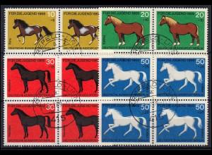 326-329 Pferde-Satz als Viererblock zentrische Voll-O KREFELD-LINN 26.2.1969
