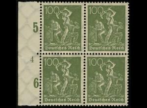 187c Freimarke Arbeiter 100 Pf blassgrün Rand-Viererblock mit Formnummer 4 **