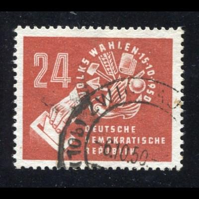 275 Volkswahlen 1950, Marke rundgestempelt ZWICKAU 6.10.50