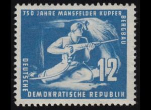 273 Mansfeld 12 Pf. mit PLF Randkerbe über der 0 von 750, Falzrest *