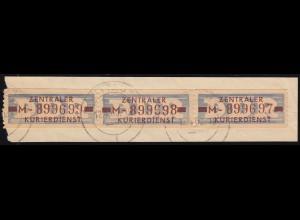 20-MII ZKD-Dienstpost 10 Pf als Dreierstreifen auf Briefstück ZITTAU 1 - 12.4.60