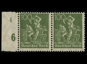 187a Freimarke Arbeiter 100 Pf Randpaar mit Formnummer 4 **