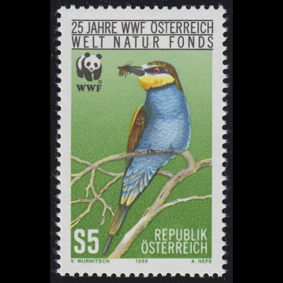 Österreich WWF Vögel Birds - Der Bienenfresser Merops apiaster, postfrisch **