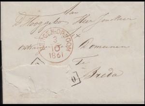 Niederlande Vorphilatelie Briefhülle BERGEN-OP-ZOOM 3.10.1861 nach BREDA 9.10.61