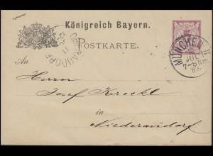 Postkarte Ziffer 5 Pf lila ohne DV: MÜNCHEN II. - 10.7.83 nach Niederaudorf