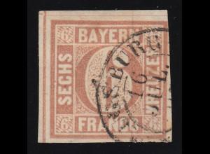 Bayern 4I Ziffer 6 Kreuzer AUGSBURG, rechts knapp, sonst überbreit gerandet