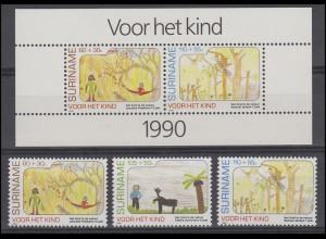 Suriname 1353-1355 Kinder 1990, 3 Werte und Kinderblock 54, Set postfrisch **