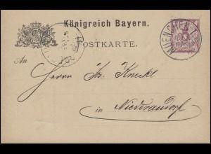 Bayern Postkarte Ziffer 5 Pf lila ohne DV: MÜNCHEN I. 29.9.84 nach Niederaudorf