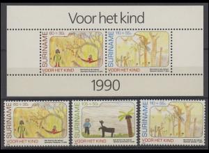 Suriname 1353-1355 Kinder 1990, 3 Marken und Kinderblock 54, Set postfrisch **