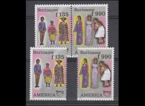Suriname 1565-1566 Trachten 1996, Zusammendruck und 2 Einzelmarken, Set **
