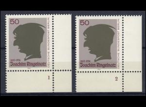 701 Joachim Ringelnatz Berlin 1983: 2 Ecken mit FN 1 und FN 2 **