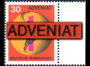 545 ADVENIAT - markanter Schmitzdruck laut MICHEL-Katalog, Randstück, **