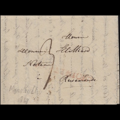 Niederlande Vorphilatelie Brief L1 rot MAASTRICHT (1829) nach Roermond