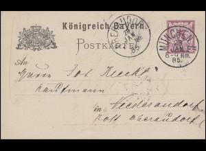 Postkarte Ziffer 5 Pf lila ohne DV: MÜNCHEN II. - 28.1.85 nach Niederaudorf