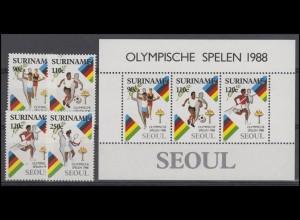 Suriname 1264-1267 Olympische Spiele 1988, 4 Werte mit Olympia-Block 47, Set **