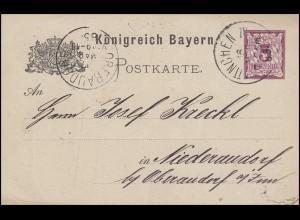 Postkarte Ziffer 5 Pf lila ohne DV: MÜNCHEN JU (?) 16.3.85 nach Niederaudorf