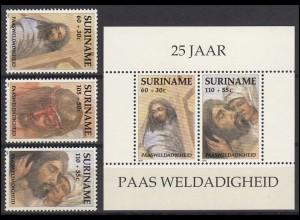 Suriname 1358-1360 Wohlfahrt Ostern Christus 1991, 3 Werte und Block 55, Set **