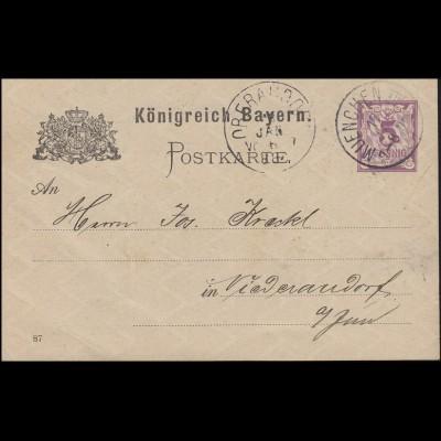 Bayern Postkarte Ziffer 5 Pf lila DV 87: MÜNCHEN III. 17.1.88 nach Niederaudorf