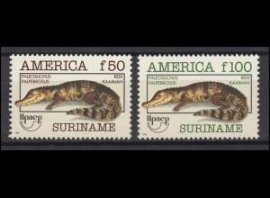 Suriname 1455-1456 Kaiman Paleosuchus & Upaep-Ausstellung 1993, 2 Werte, Satz **