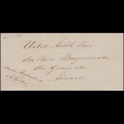 Niederlande Dienstbrief Ortsbrief an den Bürgermeister von Aduard 1875