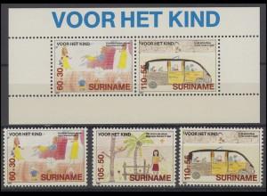 Suriname 1317-1319 Für unsere Kinder 1989, 3 Werte und Kinderblock 52, Set **