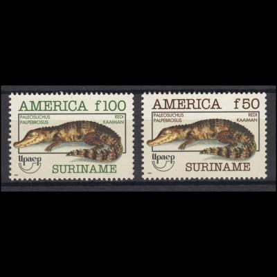 Suriname 1455-1456 Upaep-Ausstellung & Kaiman Paleosuchus 1993, 2 Werte, Satz **