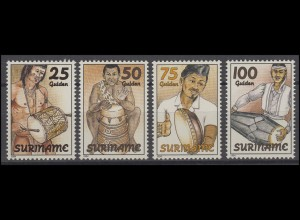 Suriname 1467-1470 Musikinstrumente - Trommeln 1994, 4 Werte, Satz **