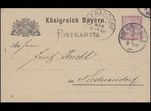 Bayern Postkarte Ziffer 5 Pf lila DV 87: NÜRNBERG II. 2.3.88 nach Niederaudorf