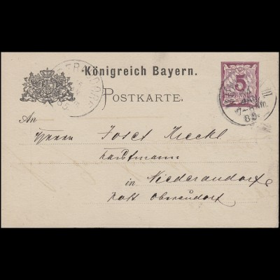 Bayern Postkarte Ziffer 5 Pf lila ohne DV: MÜNCHEN III. 14.5.85 n. Niederaudorf