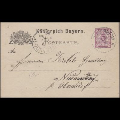 Bayern Postkarte Ziffer 5 Pf lila ohne DV: ROSENHEIM II 19.11.84 n. Niederaudorf