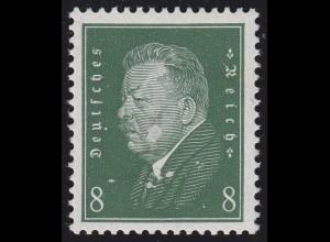 412z Reichspräsident Ebert 8 Pf. grünliche Gummierung, * Falz, BPP-geprüft