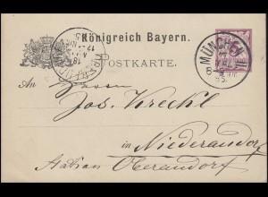 Bayern Postkarte Ziffer 5 Pf lila ohne DV: MÜNCHEN II. 17.5.85 nach Niederaudorf