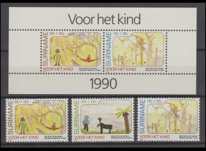 Suriname 1353-1355 Für unsere Kinder 1990, 3 Werte und Block 54, Set **