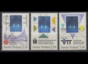 Finnland Hologramm Erfindungen & Technologien & Forschung 1992, 3 Werte, Satz **