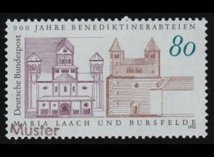 1479 150 Jahre Briefmarken als Eckrand-Viererblock FN 1 mit ESSt Bonn 1990
