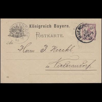 Bayern Postkarte Ziffer 5 Pf lila DV 89: MÜNCHEN III. 16.4.90 nach Niederaudorf
