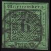 Württemberg 3b Ziffer 6 Kreuzer, gestempelt HEILBRONN 1856