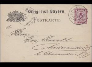 Bayern Postkarte 5 Pf lila ohne DV: MÜNCHEN I. - 31.12.84 nach Niederaudorf