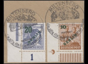 65 Grünaufdruck 10 Pf. Ecke mit Druckerzeichen 5, Briefstück, geprüft Schlegel