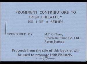 Irland-Markenheftchen privat 1982: Berühmtheiten der irischen Philatlie, **