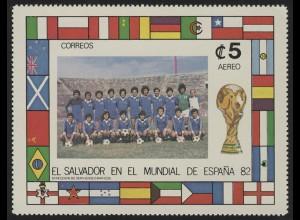 Fußball El Salvador: SPANIEN'82 Mannschaftsbild & Länderflaggen, 1 Marke **