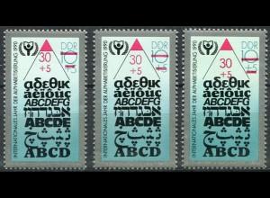3353PV Alphabetisierung - Set mit 3 Marken: PV oben / normal / PV unten, alle **