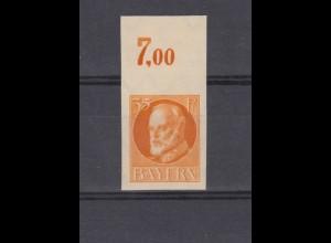 134BI Ludwig 35 Pfennig - ungezähnt ohne Aufdruck vom Oberrand, ** postfrisch