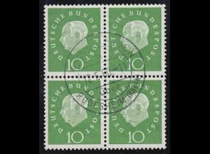 303 Heuss 10 Pf. im Viererblock, gestempelt 12.6.60, ungefaltet