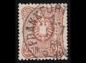 43 III Reichsadler mit PLF III Delle unten mittig, gestempelt FRANKFURT 1885