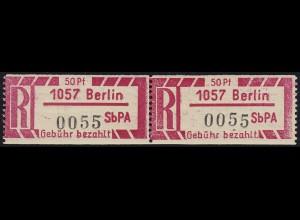 Einschreibemarke 1 Cx Z Gebührenzettel - PLZ 1057 Berlin, ** postfrisch / MNH