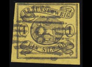 Braunschweig 11A Wappen 1 Groschen, vollrandig, gestempelt mit Nummernstempel 8