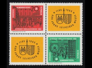 1012-1013 Leipziger Messe 1964 - Viererblock **, 1012 geprüft Schönherr BPP