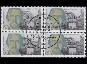 1480 Heinrich Schliemann 1990: Viererblock oben rechts ESSt Bonn 11.10.90